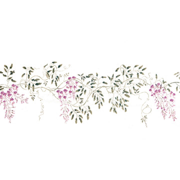 Trailing Wisteria Floral Border Wall Stencil Set by DeeSigns