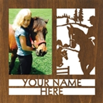 "Personalized 9"" x 9"" Equestrian Wood Picture Frame (4"" x 6"" Photo)"