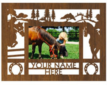 "Personalized 9"" x 12"" Equestrian Wood Picture Frame (4"" x 6"" Photo)"