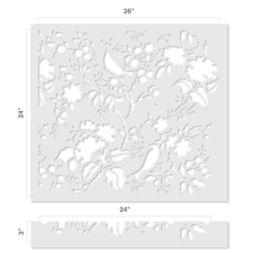 Contemporary Birds in Trees All Over Wall Stencil Size