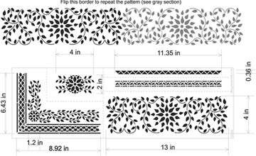 Indian Inlay Furniture Stencil Set Measurements
