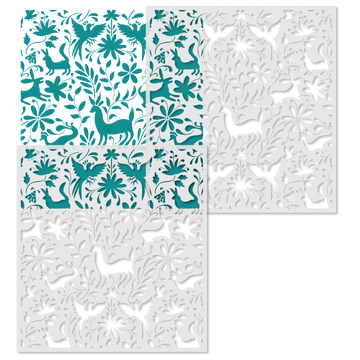 Otomi Animals All Over Wall Stencil Repeat