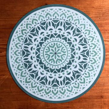 Shanti Mandala Stencil on a Mat