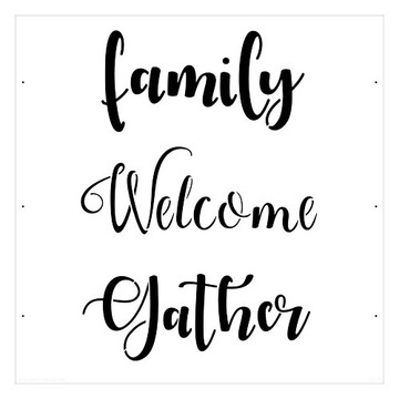 """Family - Welcome - Gather"" Lettering Stencil (10 mil plastic)"