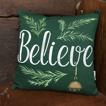 """Believe"" with a Jingle Bell Sign Stencil Pillow"