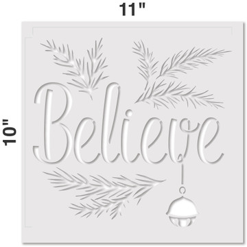 """Believe"" with a Jingle Bell Sign Stencil Measurements"