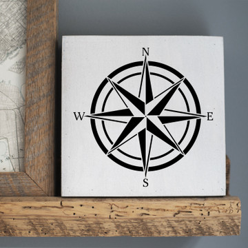 Compass Rose Wall Stencil Sign