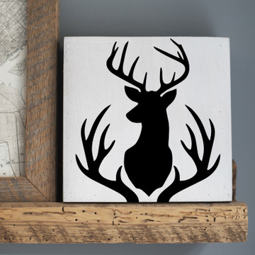 Buck Mount and Antlers Stencil Sign
