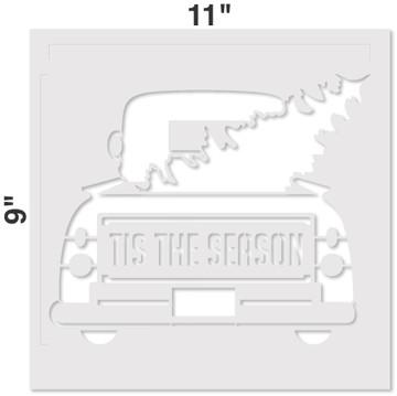 Tis the Season Vintage Truck with Tree Stencil Measurements