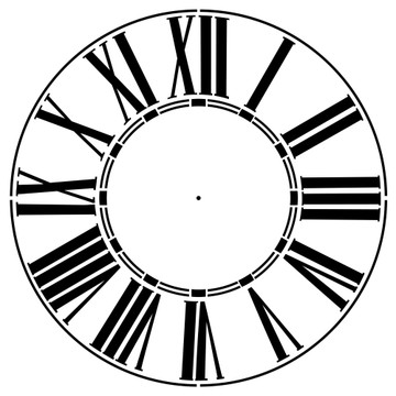 """Thick Roman Numeral 12-46"""" Clockface Wall Stencil (choice of sizes)"""