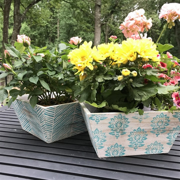 Batik Damask All Over Wall Stencil on Wooden Planter