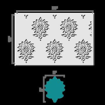Batik Damask all over pattern Wall Stencil Size