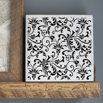 Floral Swirl All Over Pattern Stencil Sign
