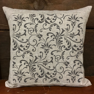 Floral Swirl All Over Pattern Stencil Pillow
