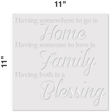 Home Family Blessing Stencil Measurements