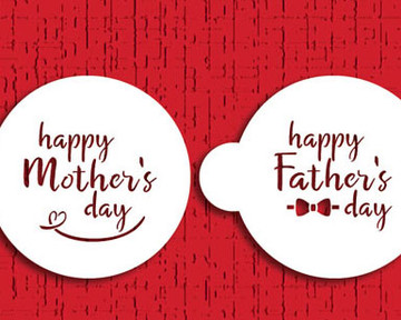 """Happy Mother's/Father's Day 3"""" Cookie Stencil Set"""