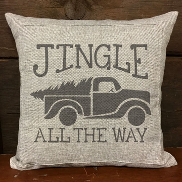 Jingle All The Way Vintage Truck with Tree Stencil Pillow