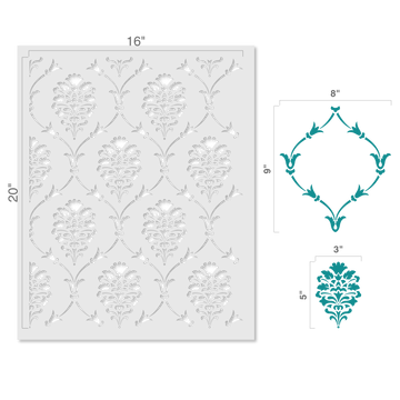 Victoria Damask All Over Wall Stencil Size