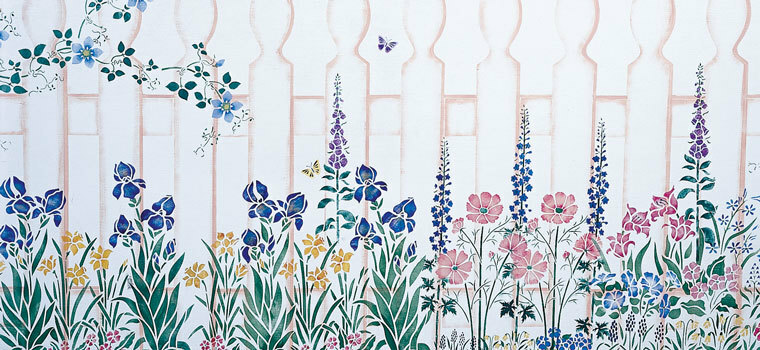 Flowers, Gardens, Insects and Birds Wall Stencils