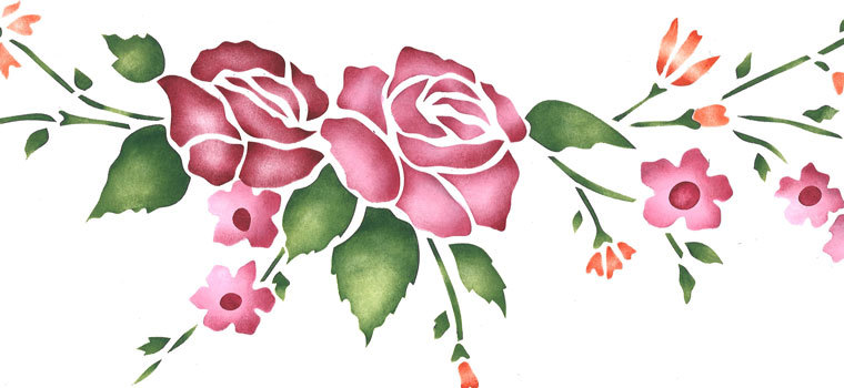 Rose Wall Stencils