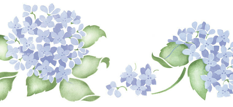 Hydrangea, Lilac & Wisteria Wall Stencils