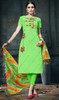 Pant Style Green Color Embroidered Cotton  Suit