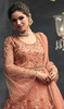 Peach Color Embroidered Net Long Anarkali Suit