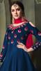 Long Anarkali Suit in Blue Color Embroidered Satin Silk