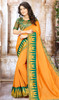 Orange Color Shaded Chinon Sari