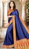 Blue Color Embroidered Chinon Sari