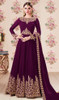 Purple Color Embroidered Georgette Anarkali Dress