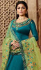 Blue Color Shaded Satin Silk Georgette Suit