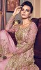 Pink Color Designer Suit In Embroidered Net