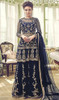 Navy Blue Color Shaded Net Palazzo Suit