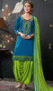 Sea Blue Color Shaded Silk Cotton Patiala Dress