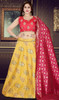 Embroidered Yellow Color Silk Choli Skirt