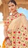 Cream Color Georgette Embroidered Sari