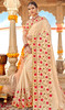 Cream Color Georgette Embroidered Sari