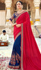 Red and Blue Color Georgette Half N Half Sari
