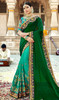 Green and Aqua Green Color Georgette Half N Half Sari