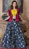 Navy Blue Color Shaded Silk Choli Skirt