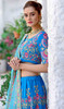 Sky Blue Color Shaded Velvet Lehenga Choli