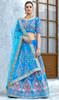Sky Blue Color Shaded Velvet Lehenga Choli