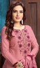 Pink Color Cotton Satin Embroidered Punjabi Dress