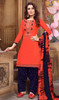 Punjabi Suit, Cotton Satin Fabric in Orange Color Shaded