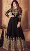 Georgette Anarkali Black Color Embroidered  Suit