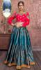 Blue Color Silk Embroidered Choli Skirt