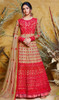 Beige and Red Color Shaded Net Anarkali Dress