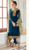 Blue Color Embroidered Satin Georgette Churidar Suit