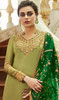 Green Color Embroidered Satin Georgette Churidar Kameez